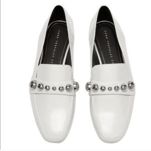Zara Trafaluc Patent Leather studded loafers